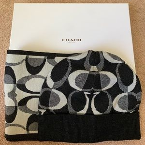 Coach black scarf and beanie